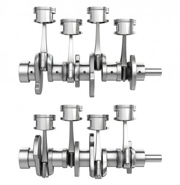 Engine pistons on a crankshaft, two positions