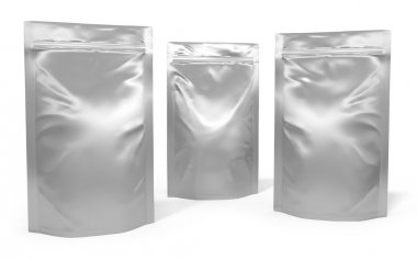 Three foil bag packages isolated on white background stock vector