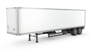 Blank white parked semi trailer