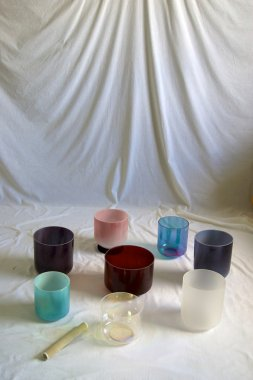 collection of crystal singing bowls