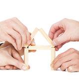 pět podnikatel ruka dům dřevěný blok