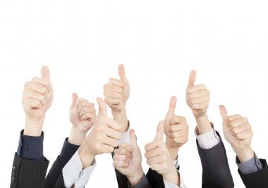 Business with Thumbs Up isolated on White Background