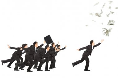 excited businessman running to the money