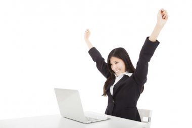Happy businesswoman with laptop and isolated on white