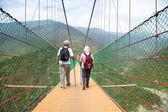 šťastný starší pár chůze na mostě v přírodním parku