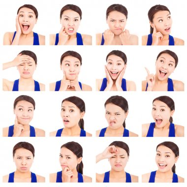 asian young woman facial expressions