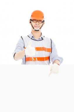 Male worker  thumb up gesture and pointing to  white board stock vector
