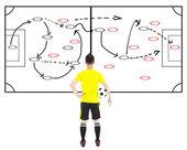 giocatore di calcio tenendo una palla e tattiche di attacco del pensiero