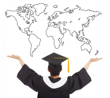 graduation student  open arms to welcome the worldwide job