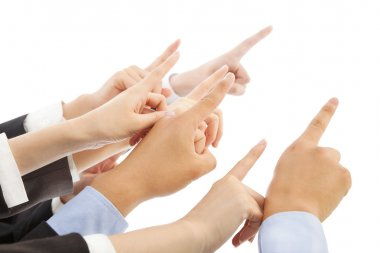 business people hands  showing the same direction