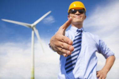 professional business man cooperate to do wind power fuel