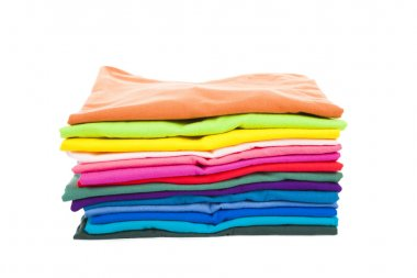 Pile of colorful clothes with white background