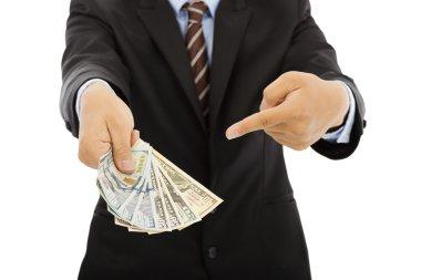 business man holding us dollar cash. isolated on white