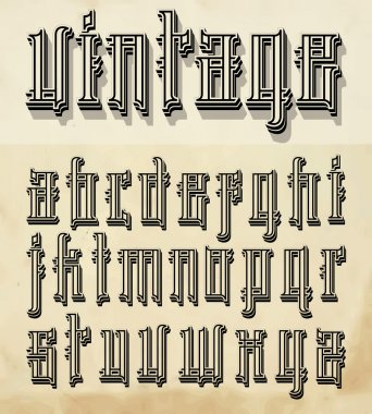Vintage style font:small letters
