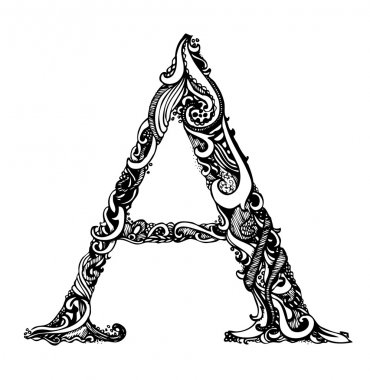 Capital Letter A - Calligraphic Vintage Swirly Style