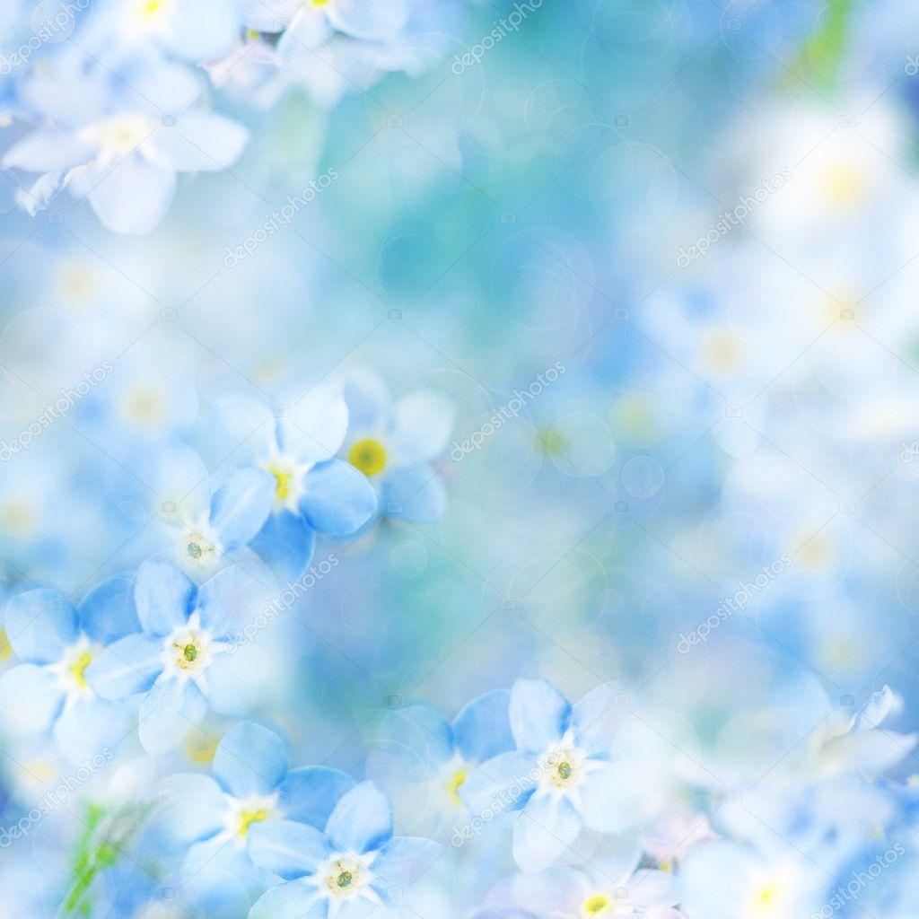Fantasy Gentle Floral Background - Blue Flowers Defocused