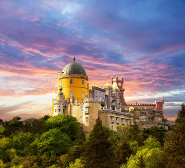 Fairy Palace against sunset sky - Panorama of Palace in Sintra,