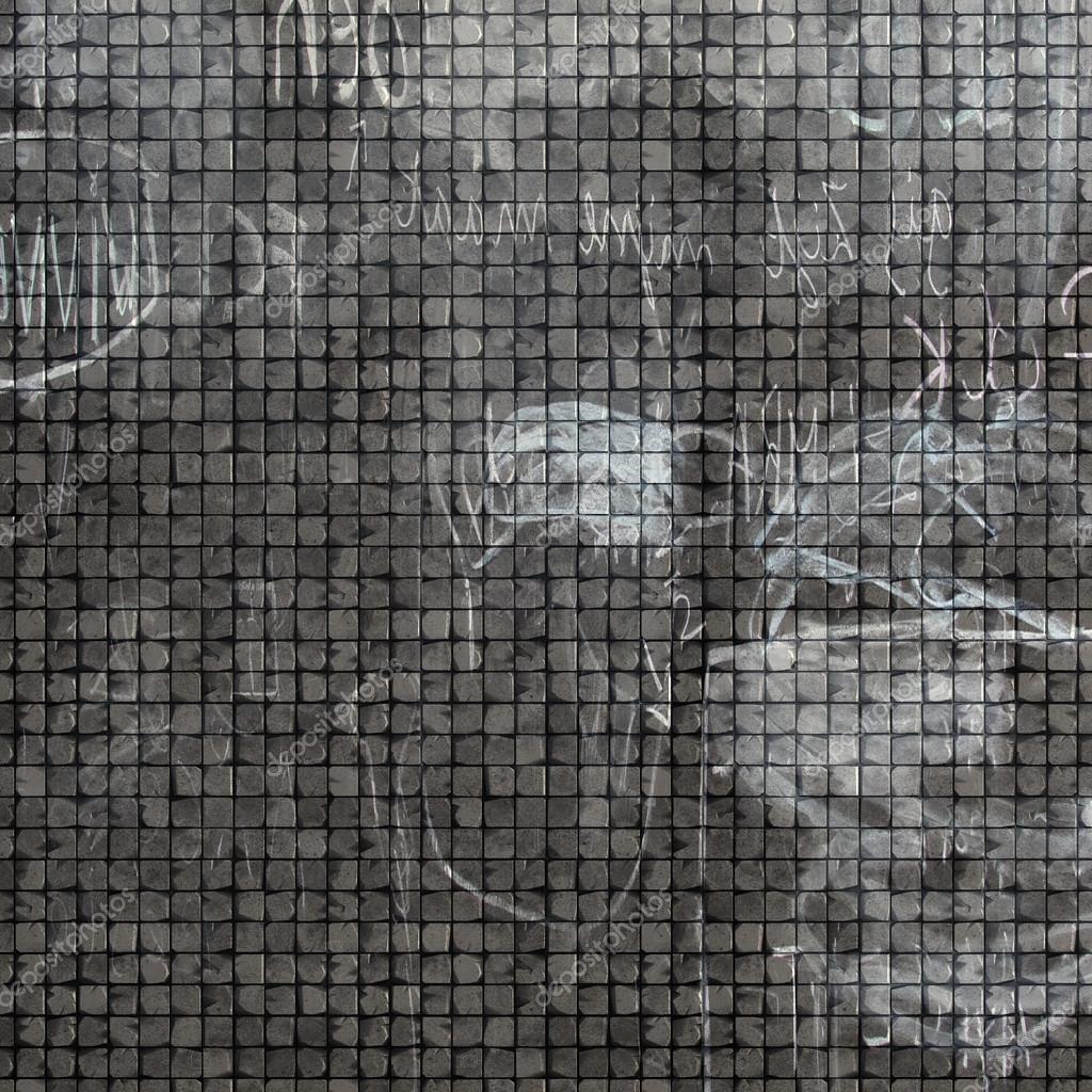 Graffiti wall tiles - 3d Tile Mosaic Wall Floor In Gray Grunge Stone With Graffiti Mar Stock Image