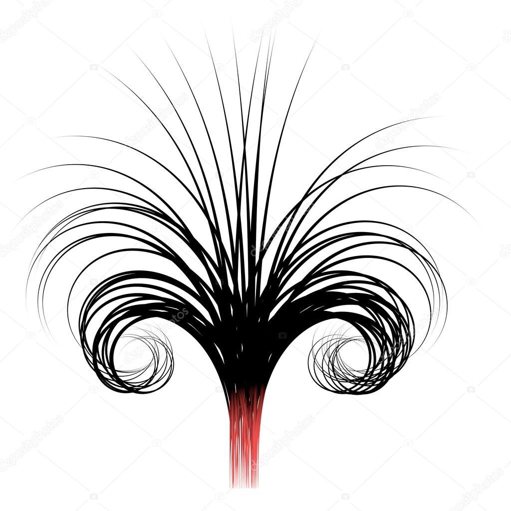 3D gewelltes Haar wie Draht Gewinde Form auf weiß — Stockfoto ...