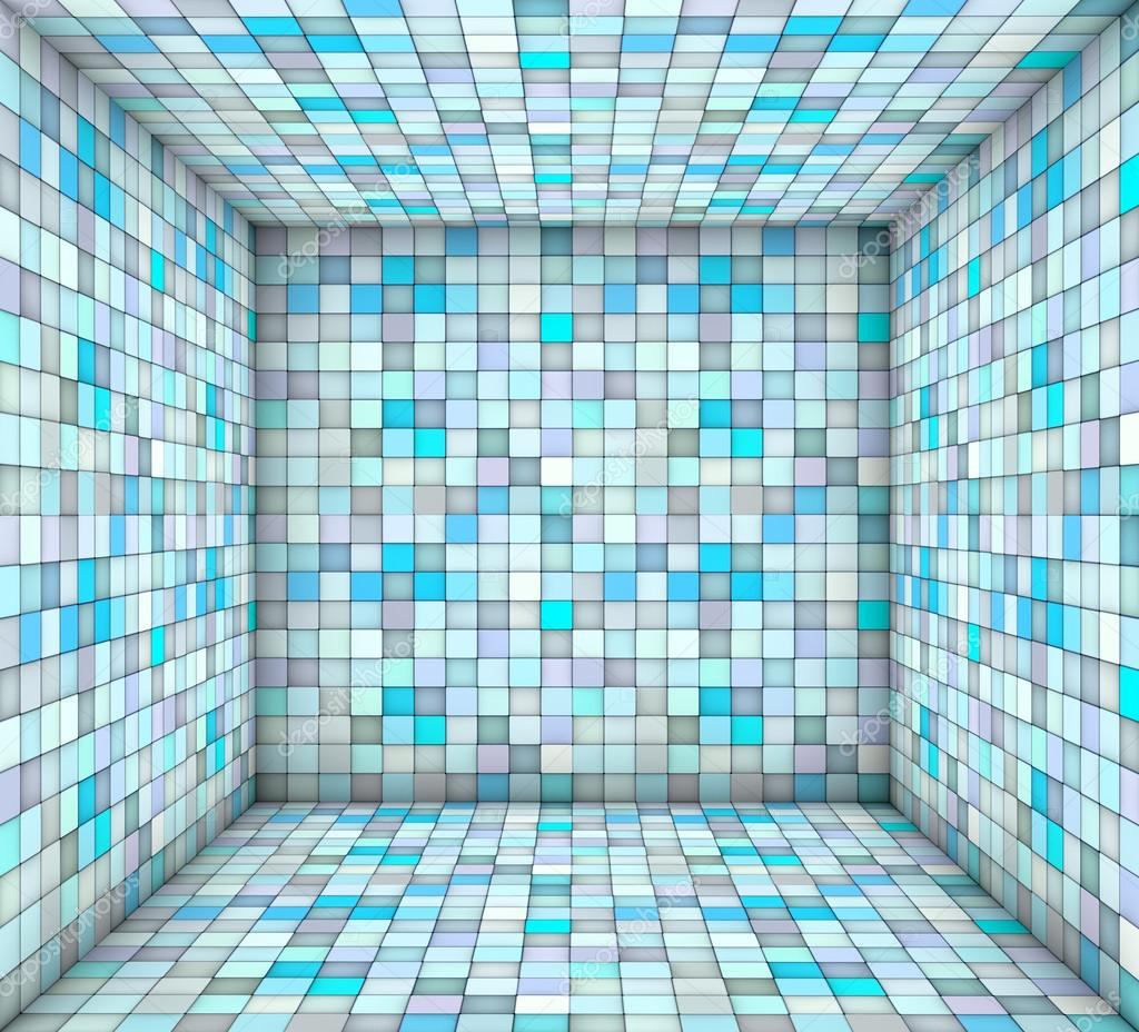 blue mosaic square tiled empty space — Stock Photo © johnjohnson ...