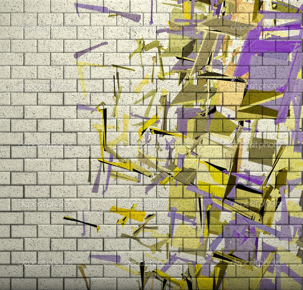 Muro di mattoni con pattern frammentato in piastrelle mosaico 3d foto stock johnjohnson - Piastrelle tipo mosaico ...