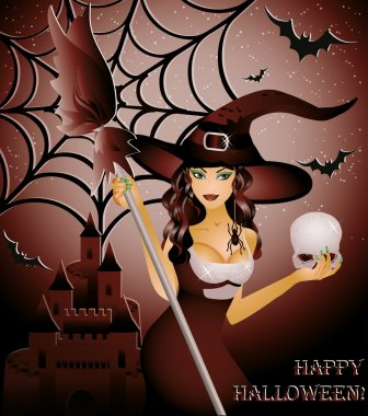 Happy halloween card, sexy witch and skull