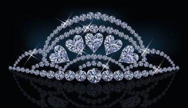 Diamond princess diadem with hearts, vector illustration