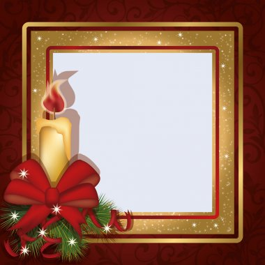 Christmas invitation photo frame scrapbooking, vector illustration