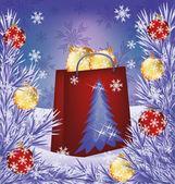 Karácsonyi eladó kártya. Táska bolt bemutatja a labdákat, vektoros illusztráció