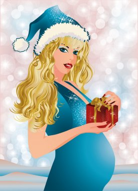 Pregnant woman holding Christmas giftbox. vector