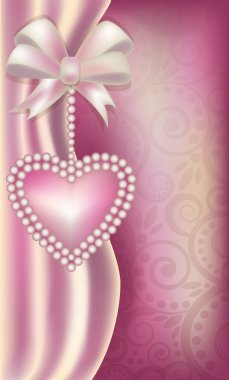 Valentine's Day vertical banner with pearls heart , vector illustration
