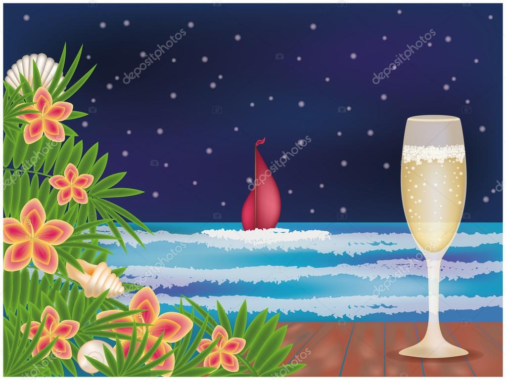 Summer night with champagne, vector illustration