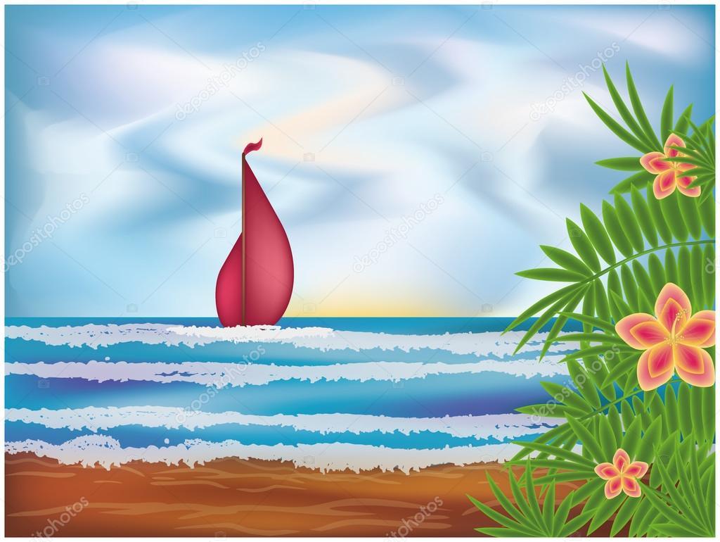 Scarlet sails, vector illustration