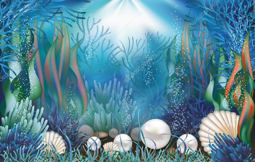 Underwater wallpaper with pearls . vector