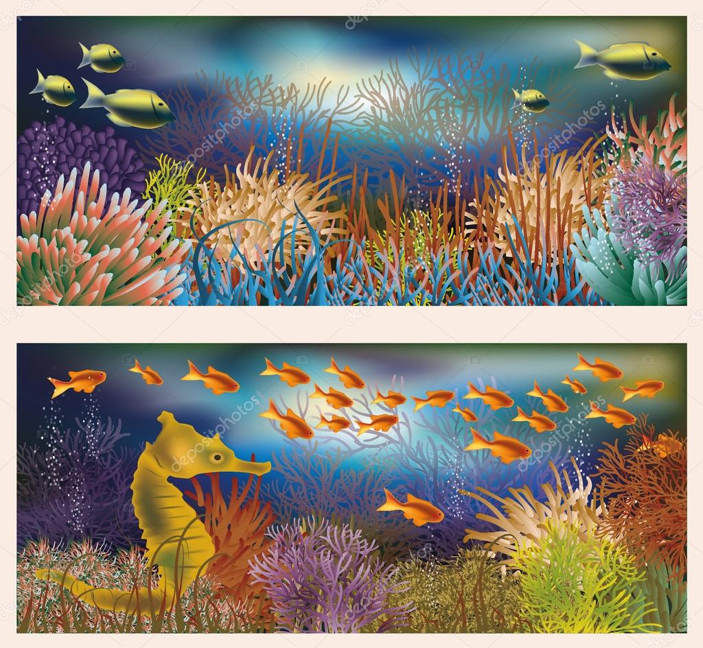 Underwater world banners, vector illustration