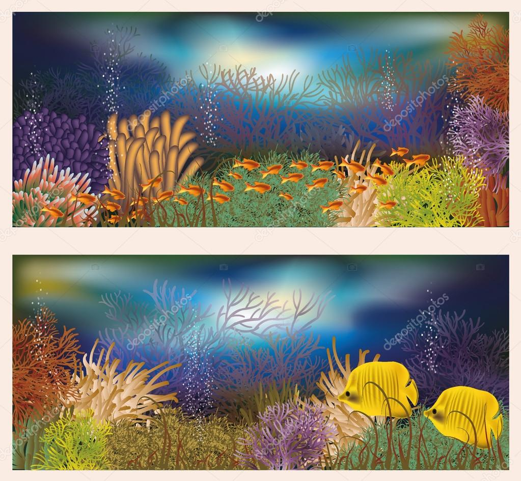 Underwater world two banners, vector illustration