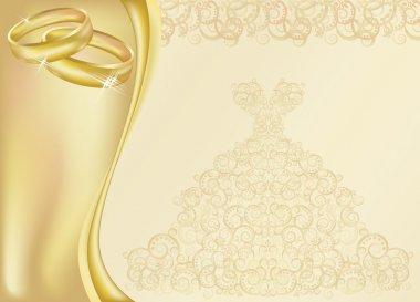 Wedding invitation card with two golden rings, vector illustration