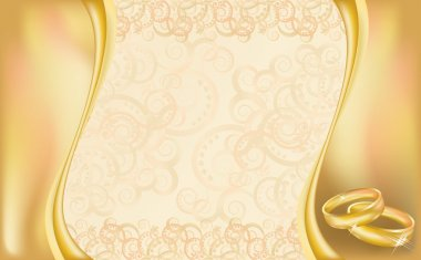 Wedding invitation card with golden rings and floral ornate, vector illustration