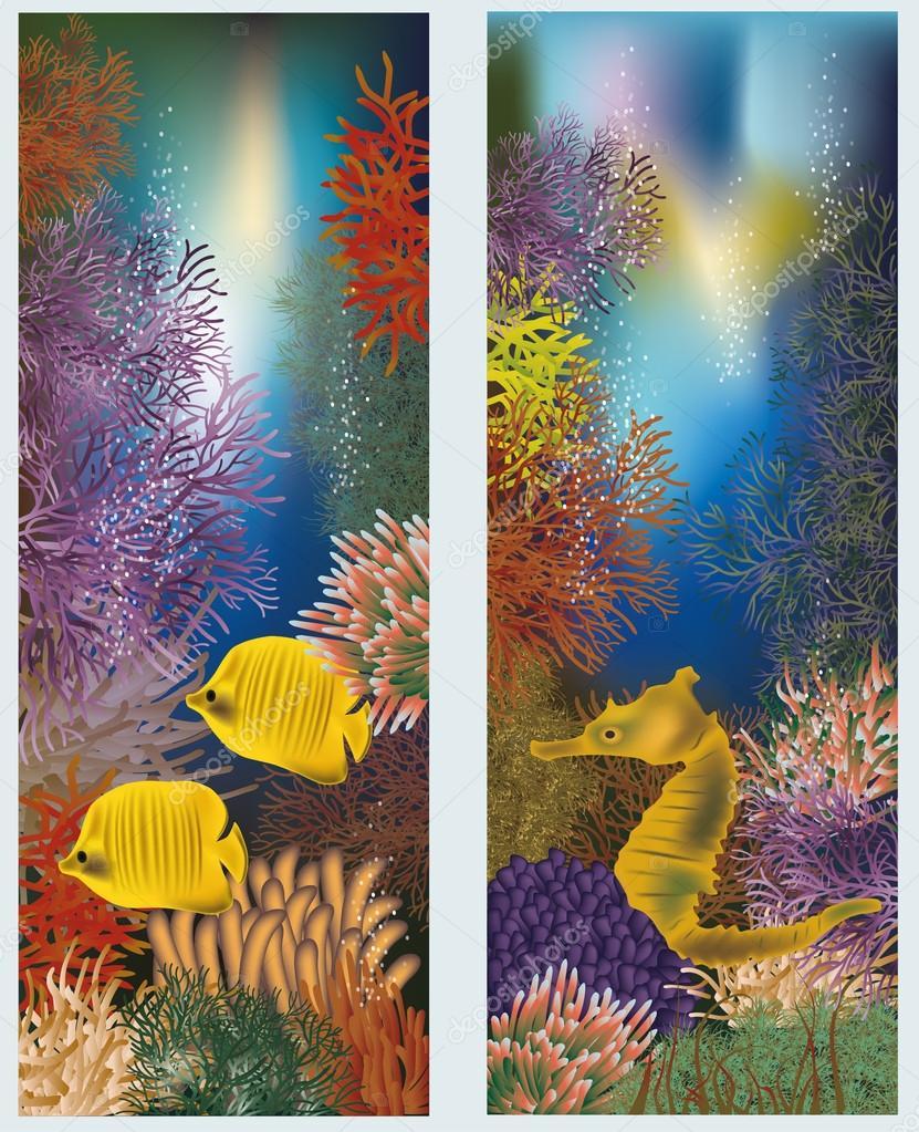 Underwater world vertical banners, vector illustration