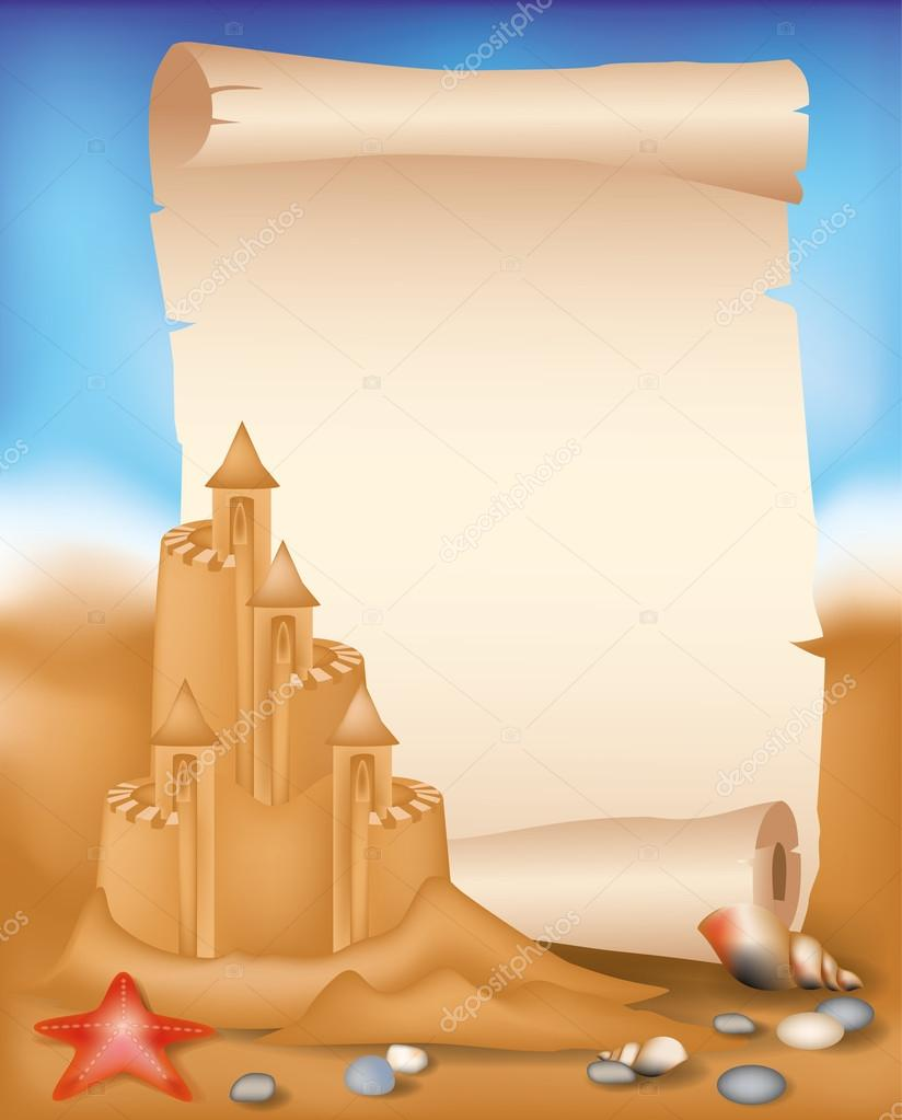Blank paper scroll on summer beach background, vector illustration