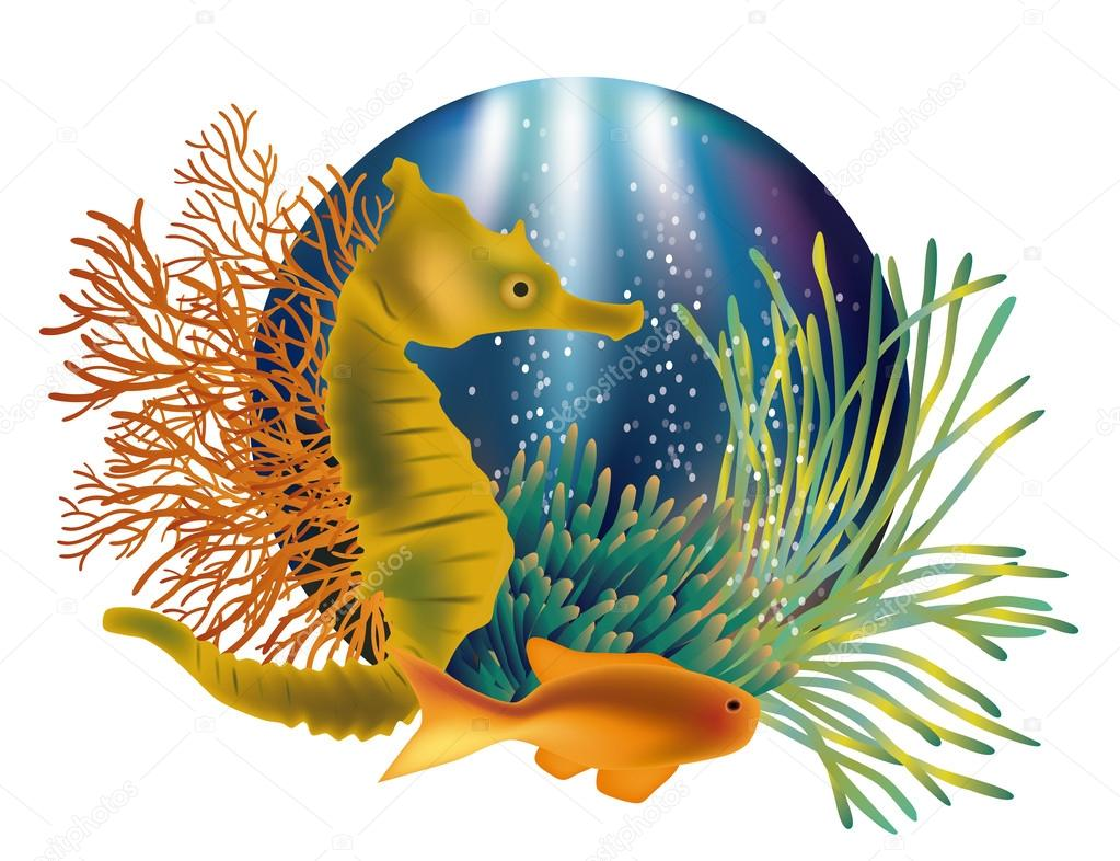 Underwater world banner with seahorse and fish, vector illustration