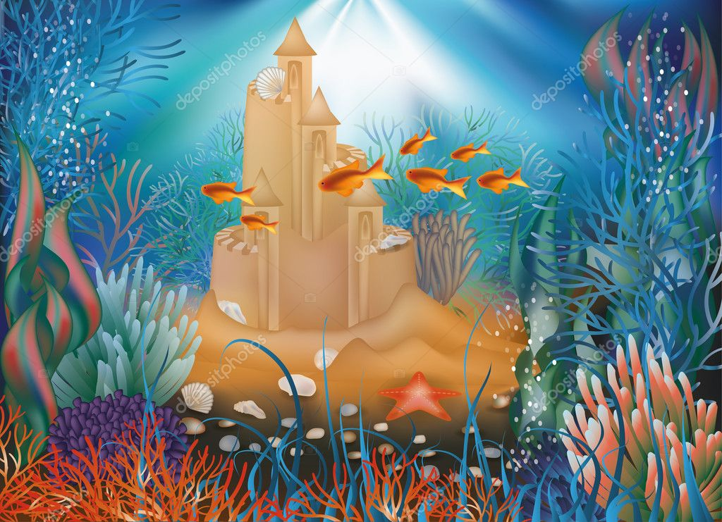 Underwater world wallpaper with sandcastle, vector illustration