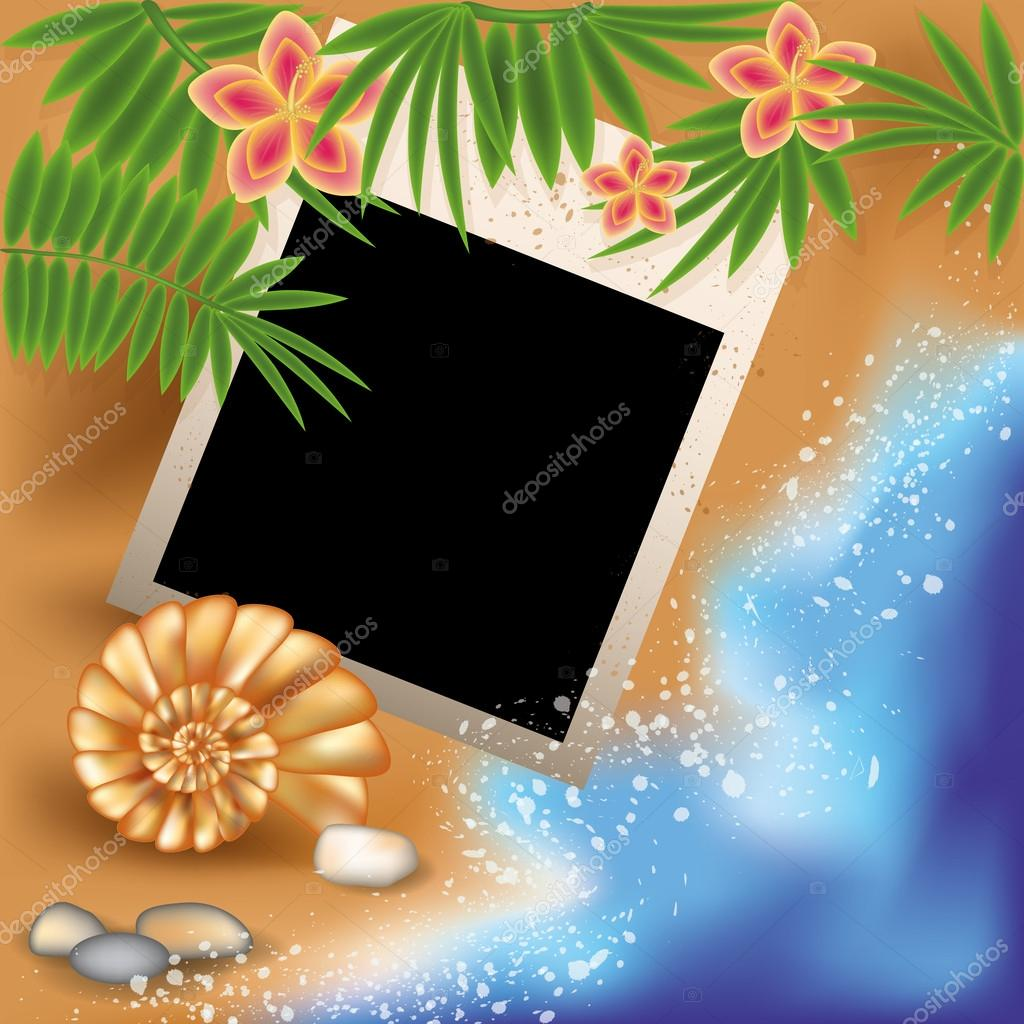 Summer photo frame with seashell and flowers, vector illustration