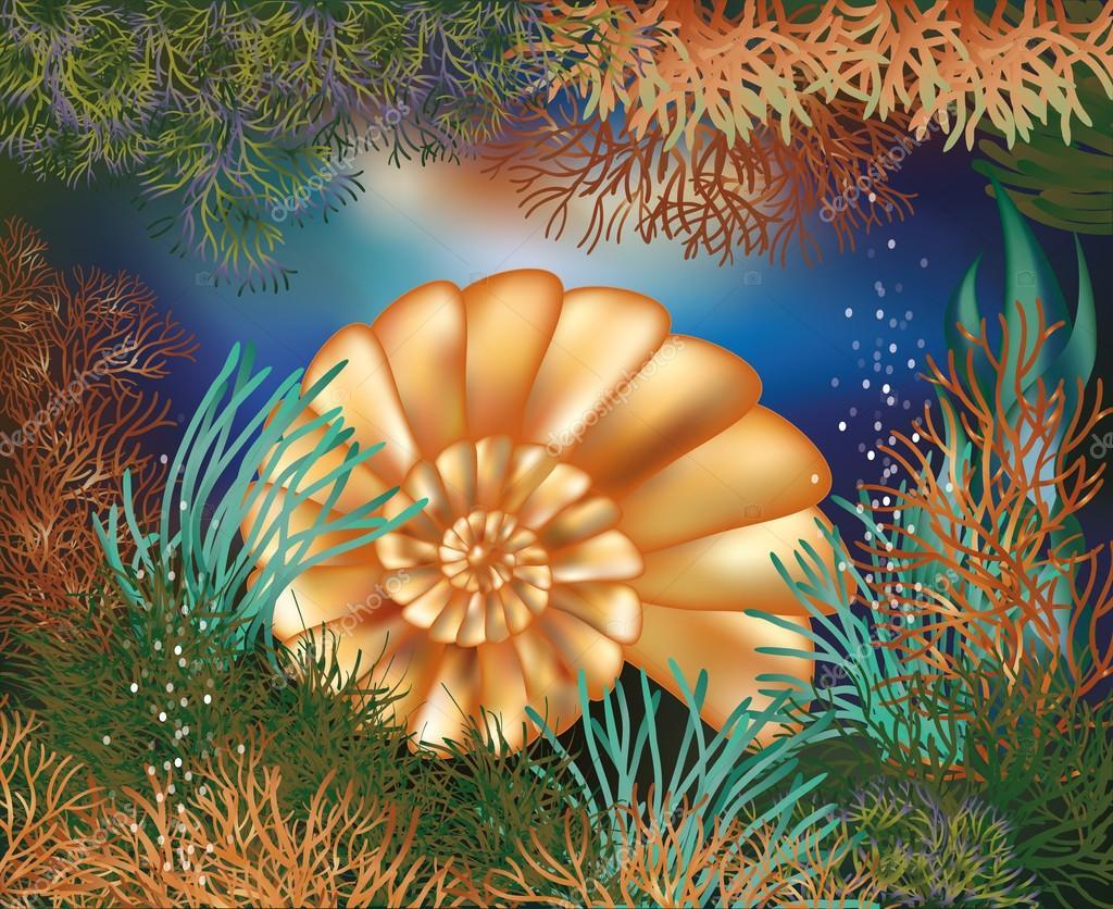Underwater world wallpaper with golden seashell, vector illustration