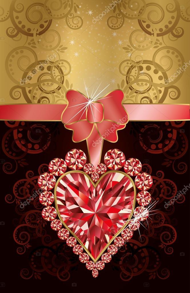 Tarjeta De Invitación Con Corazón De Rubí Y Flores De La