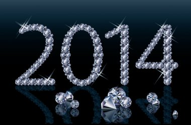 Diamond Happy New 2014 Year banner, vector illustration