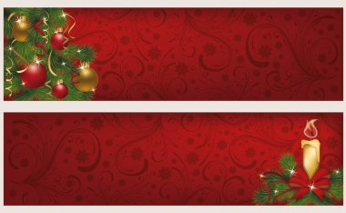 Two christmas winter banners, vector illustration