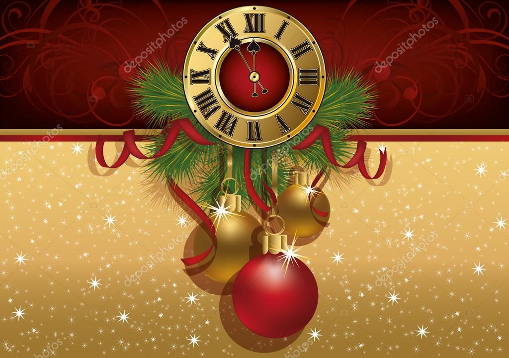 new year greeting banner with xmas balls and clock vector illustration stock vector