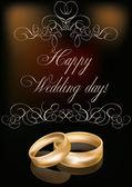 Šťastný den svatební přání, vektorové ilustrace