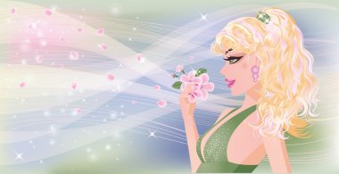 Spring banner with sexy girl, vector illustration